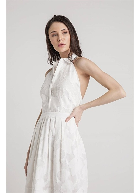Rue Omuzları Açık Midi Elbise Beyaz